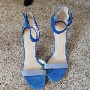 Heeled 3 tone blue suede shoes